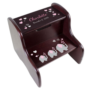 Personalized Pink Elephant Espresso Two Step Stool