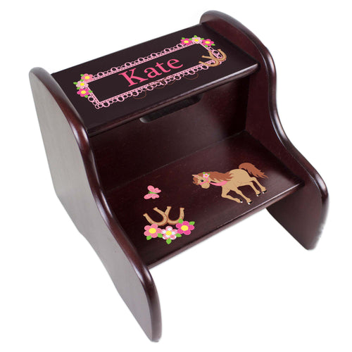 Personalized Espresso 2 Step Stool With Pretty Pony Design