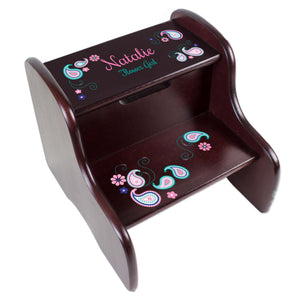 Personalized Pink Teal Paisley Espresso Two Step Stool