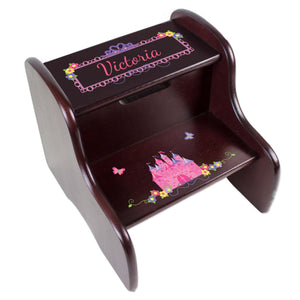 Personalized Espresso 2 Step Stool With Princess Castle Design