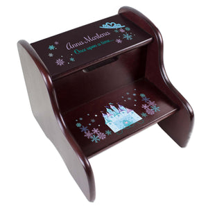 Personalized Winter Castle Espresso Two Step Stool