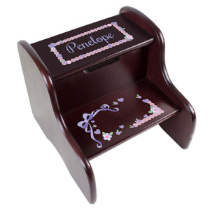 Personalized Espresso 2 Step Stool With Lacey Bow Design