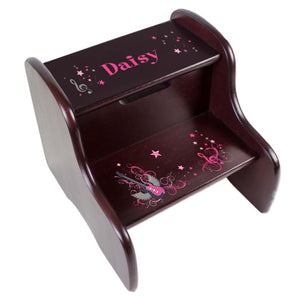 Personalized Pink Rock Star Espresso Two Step Stool