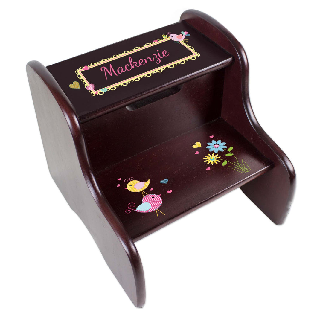 Personalized Lovely Birds Espresso Two Step Stool
