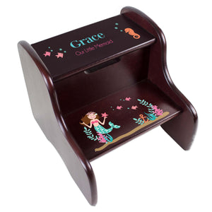 Personalized Brunette Mermaid Espresso Two Step Stool