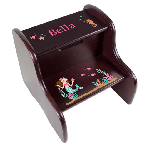 Personalized Brunette Mermaid Princess Espresso Two Step Stool