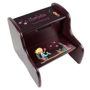 Personalized Blonde Mermaid Espresso Two Step Stool