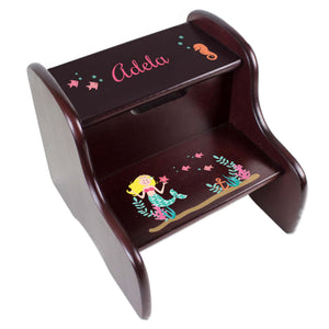 Personalized Blonde Mermaid Princess Espresso Two Step Stool