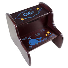 Personalized Blue Whale Espresso Two Step Stool