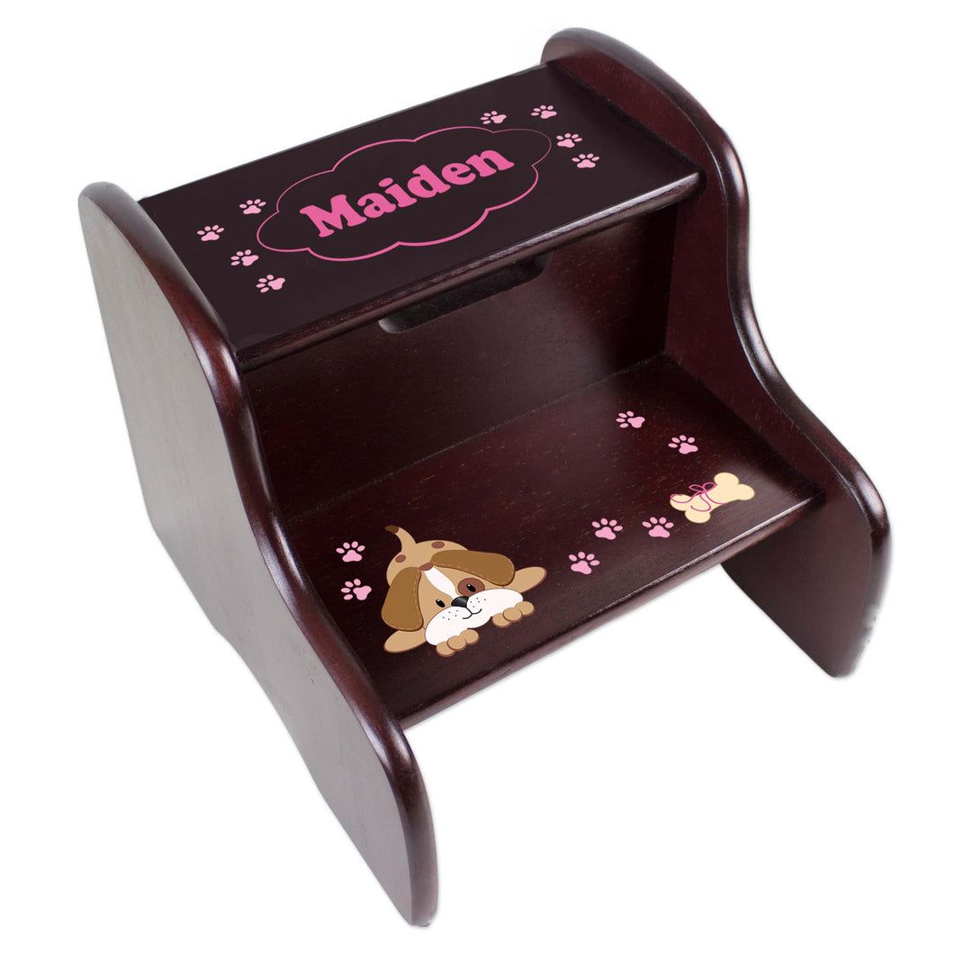 Personalized Pink Puppy Espresso Two Step Stool