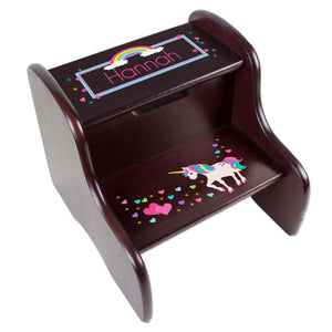 Personalized Unicorn Espresso Two Step Stool