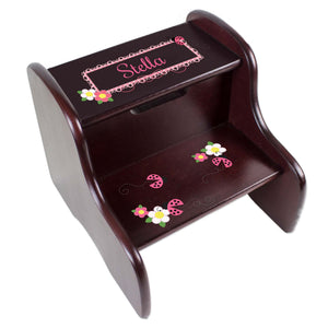 Personalized Espresso 2 Step Stool With Pink Ladybugs Design