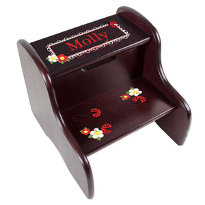 Personalized Red Ladybugs Espresso Two Step Stool