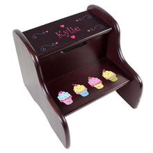 Personalized Cupcakes Espresso Two Step Stool