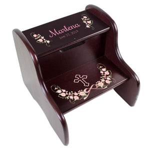 Personalized Blush Floral Cross Espresso Two Step Stool