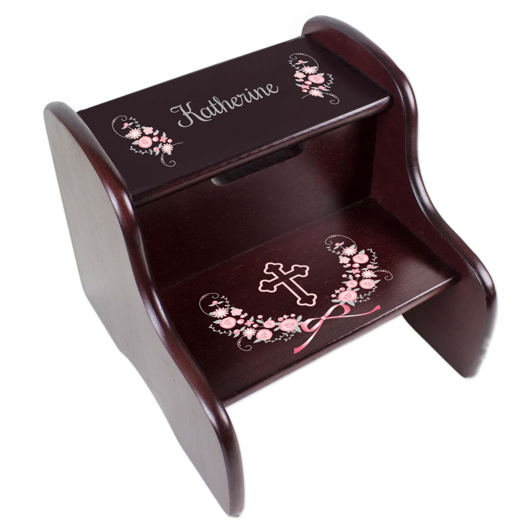 Personalized Holy Cross Pink Gray Floral Garland Design Fixed Espresso Stool