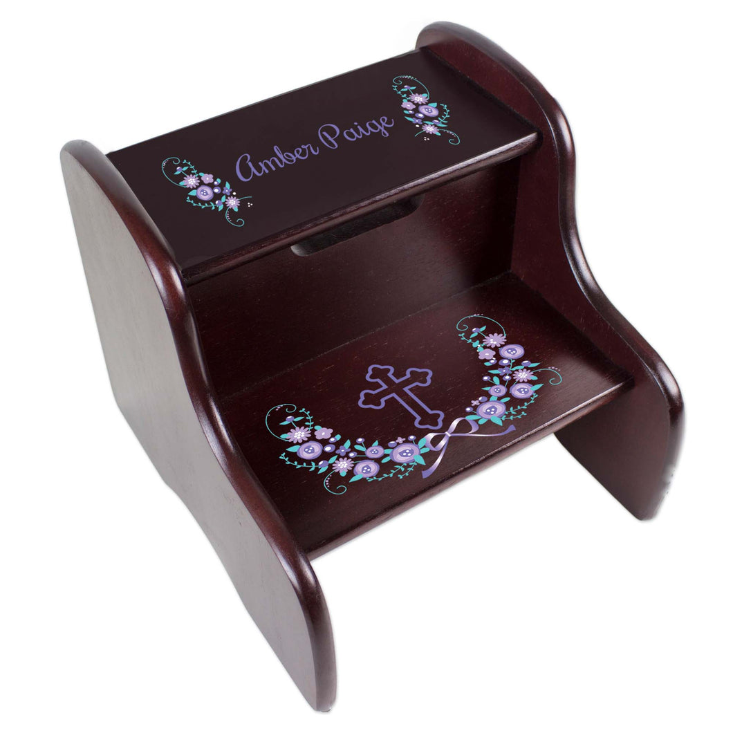 Personalized Holy Cross Lavender Floral Garland Design Fixed Espresso Stool