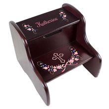 Personalized Holy Cross Navy Pink Floral Garland Design Fixed Espresso Stool