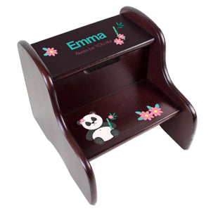 Personalized Panda Bear Espresso Two Step Stool