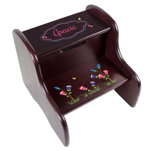 Personalized English Garden Espresso Two Step Stool
