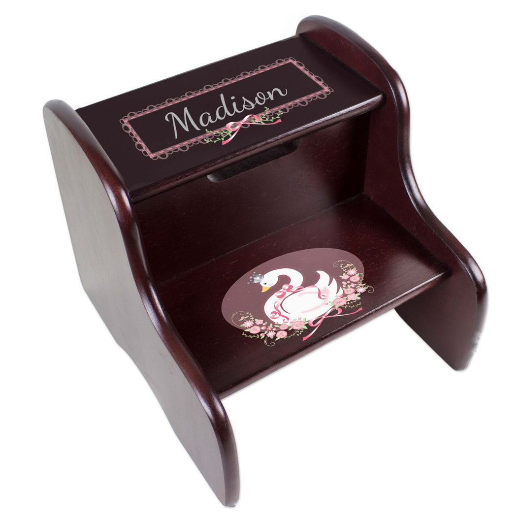 Personalized Swan Espresso Two Step Stool