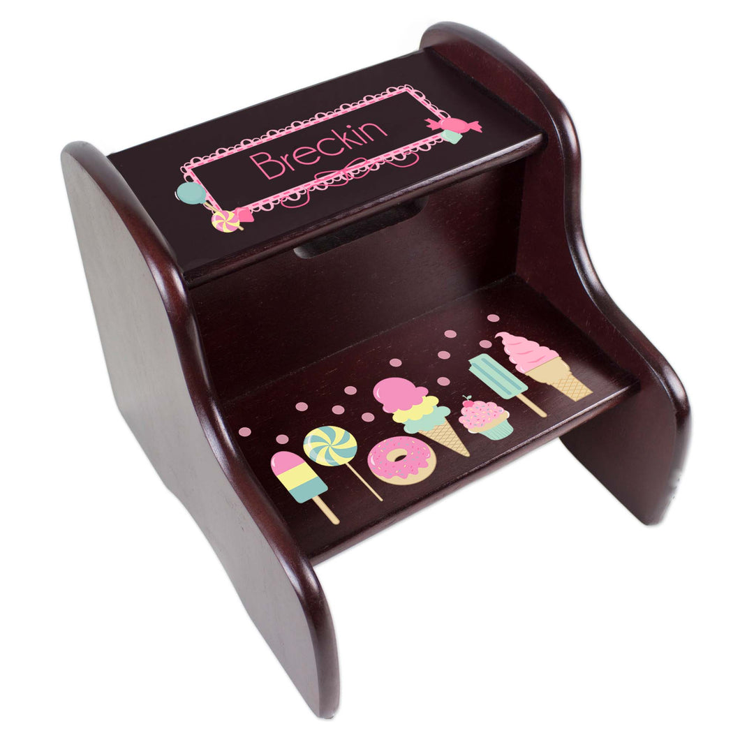 Personalized Espresso Two Step Stool With Sweet Treats Candy Design