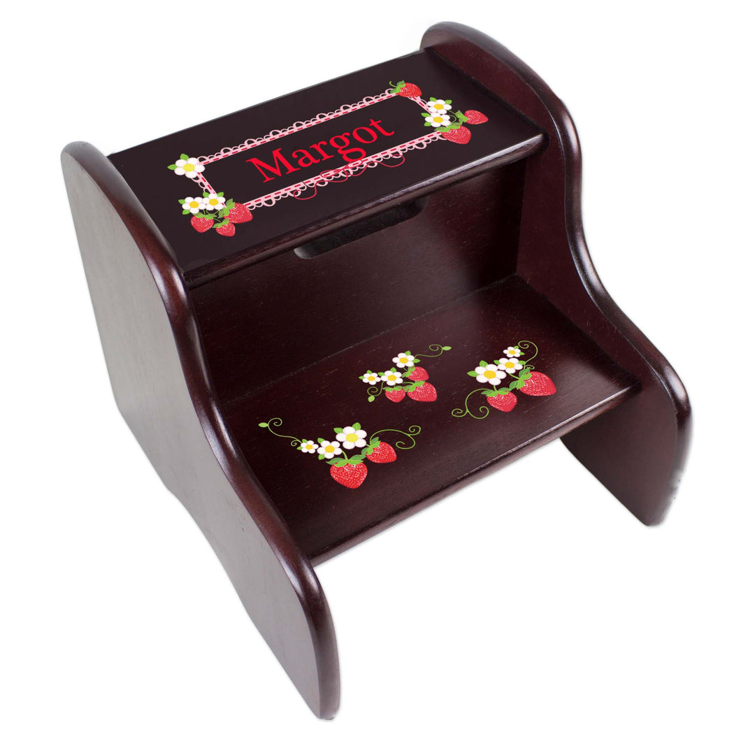 Personalized Strawberries Espresso Two Step Stool