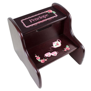 Personalized Tea Party Espresso Two Step Stool
