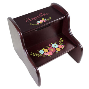 Personalized Spring Floral Espresso Two Step Stool