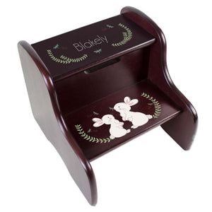 Personalized Classic Bunny Espresso Two Step Stool