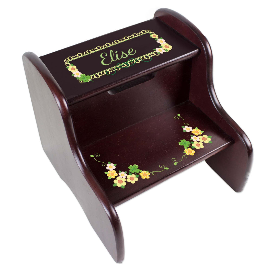 Personalized Espresso Two Step Stool With Shamrock Design
