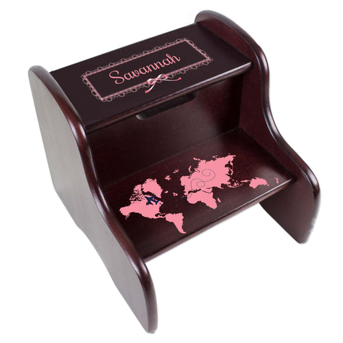 Personalized World Map Pink Espresso Two Step Stool