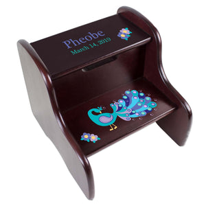Personalized Peacock Two Step Stool - Espresso