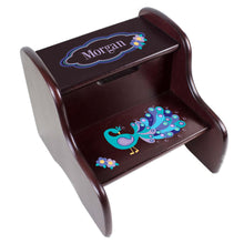 Personalized Peacock Espresso Two Step Stool