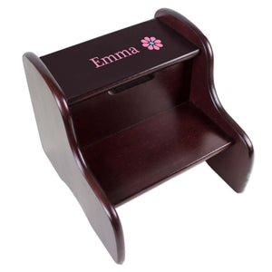 Personalized Single Daisy Design Fixed Espresso Stool