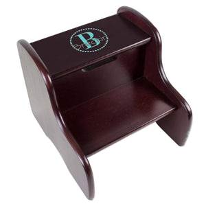 Personalized Espresso Fixed Stool With Teal Circle Design