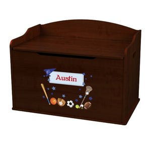 Personalized Sports Espresso Toy Box Bench