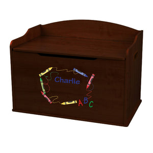 Personalized Crayon Espresso Toy Box Bench