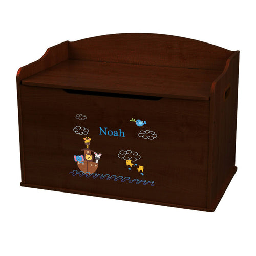 Personalized Noahs Ark Espresso Toy Box Bench