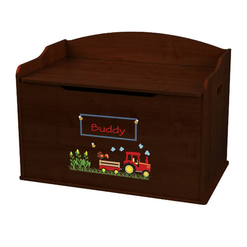 Personalized Red Tractor Espresso Toy Box Bench