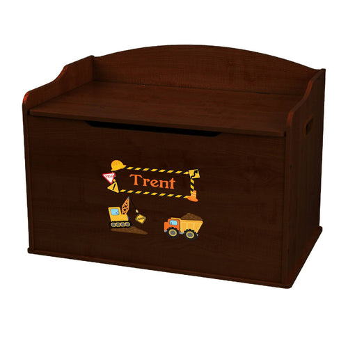 Personalized Construction Espresso Toy Box Bench