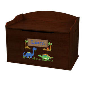 Personalized Dinosaurs Espresso Toy Box Bench