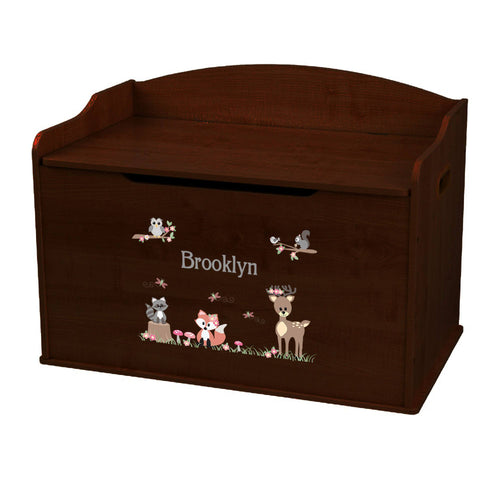 Personalized Espresso Wooden Toy Box with Gray Woodland Critters design