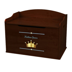 Personalized Prince Crown Blue Espresso Toy Box Bench