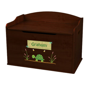 Personalized Turtle Espresso Toy Box Bench