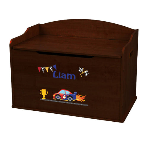 Personalized Race Cars Espresso Toy Box Bench