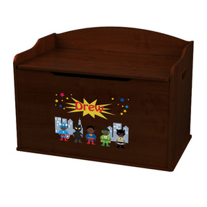 Personalized Boys Super Hero African Espresso Toy Box Bench