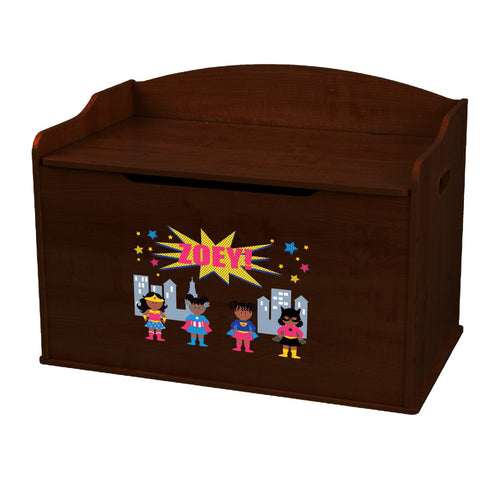 Personalized Girls Superhero African American Espresso Toy Box Bench