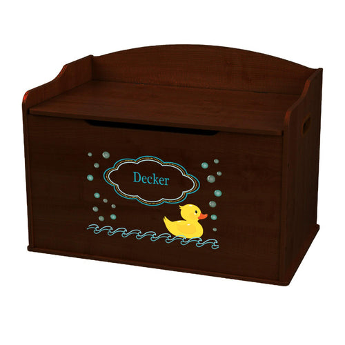 Personalized Rubber Ducky Espresso Toy Box Bench