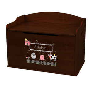 Personalized Barnyard Friends Pastel Espresso Toy Box Bench